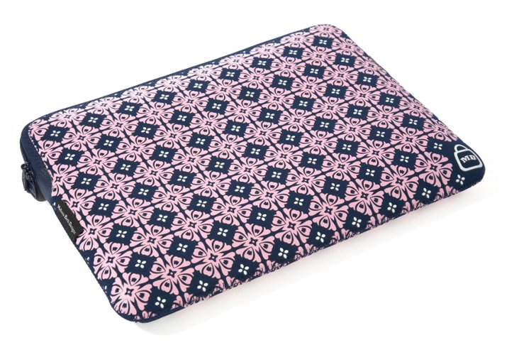 "17"" Printed Laptop Sleeve, Navy/Pink"