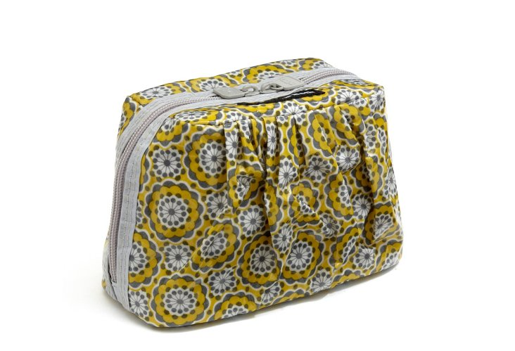 Mini Cosmetic Case, Gray/Yellow