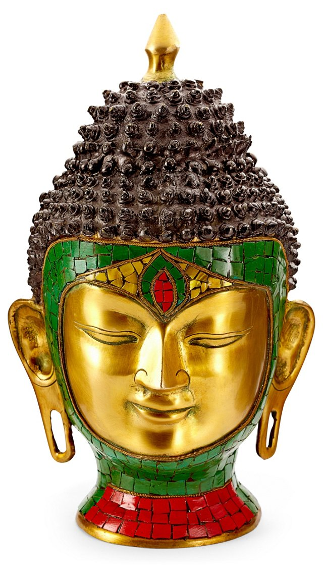 "11"" Brass and Stones Buddha Head"
