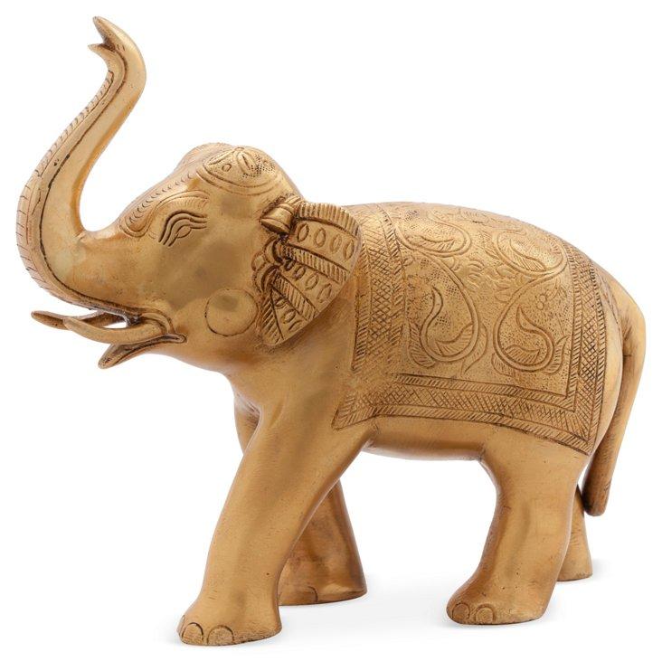 """11"""" Brass Elephant Figurine"""