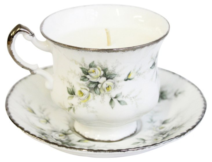 Silver Roses Tea Cup Candle, Lilac