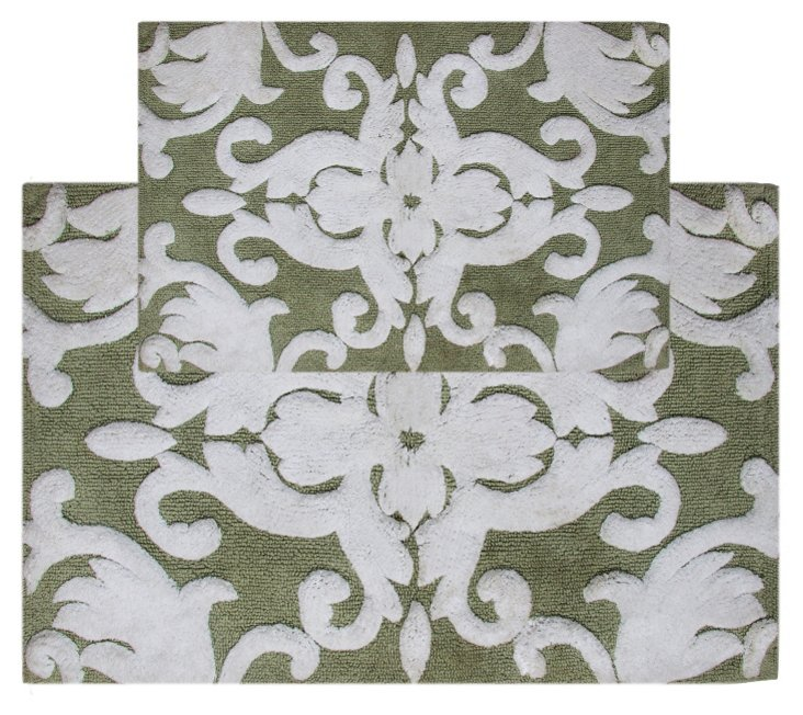 S/2 Iron Gate Bath Rug, Green/White