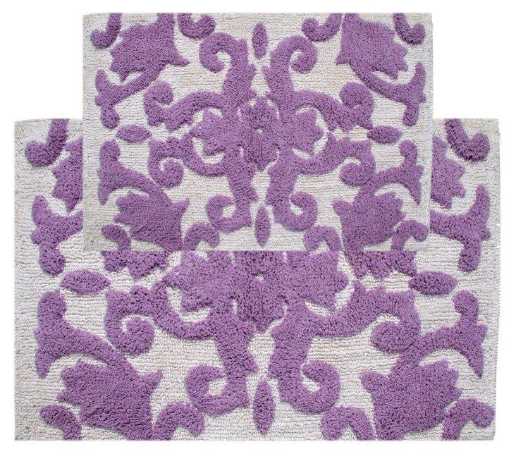 S/2 Iron Gate Bath Rug, White/Lilac