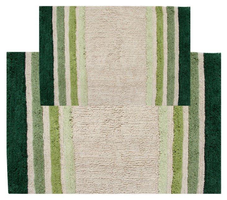 S/2 Tuxedo Stripe Bath Rug, Green/White