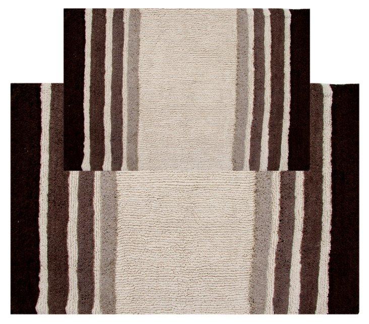 S/2 Tuxedo Stripe Bath Rug, Chocolate