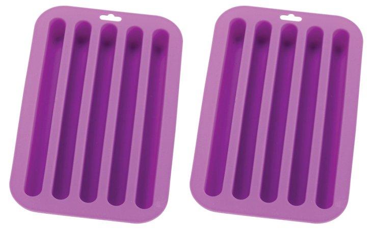 S/2 Long Ice Cube Trays, Purple