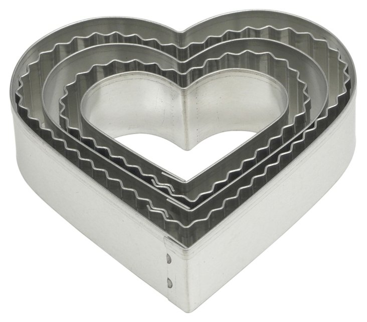 S/10 Crinkle Heart Cookie Cutters