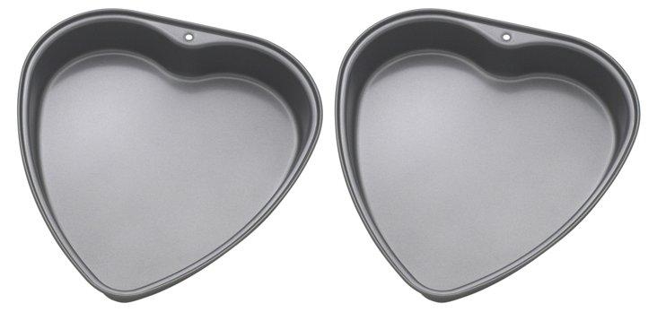 S/2 Heart Pans, Silver