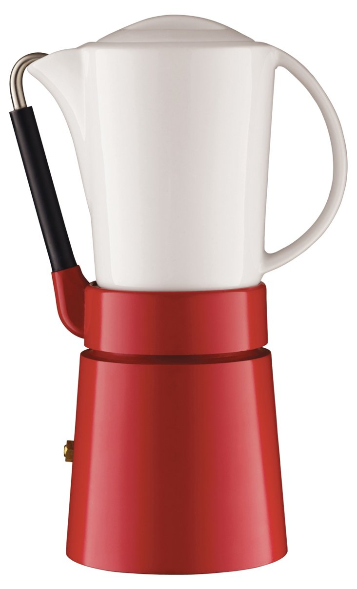Café Porcellana Espresso Maker, Red