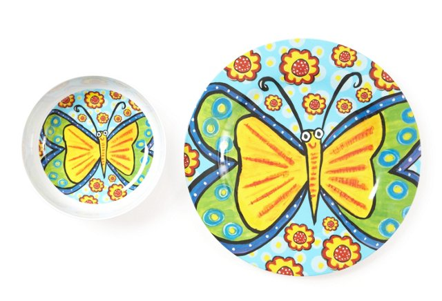 Fly With Me Bowl & Plate Set