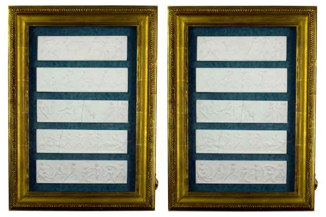 Framed Replica Carvings, Pair