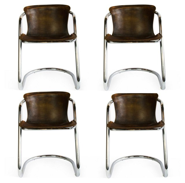 Chrome & Leather Chairs, Set of 4