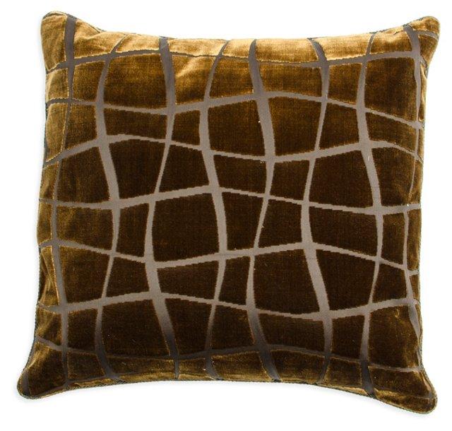 Velvet & Linen Giraffe-Print Pillow