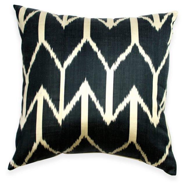 Navy Arrow-Print Cotton Pillow
