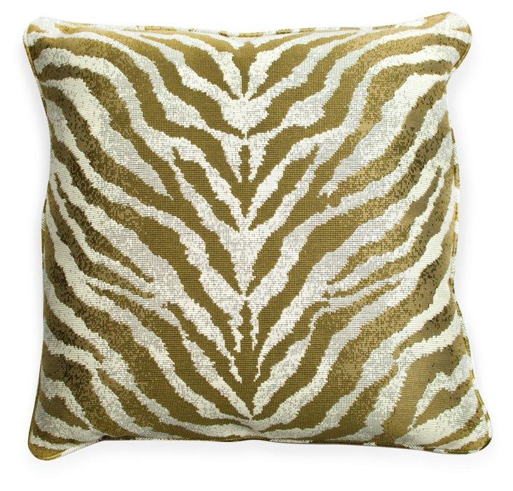 Gold & Ivory Zebra-Print Pillow