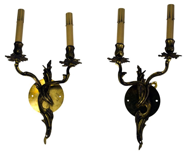 Vintage French Brass Sconces, Pair