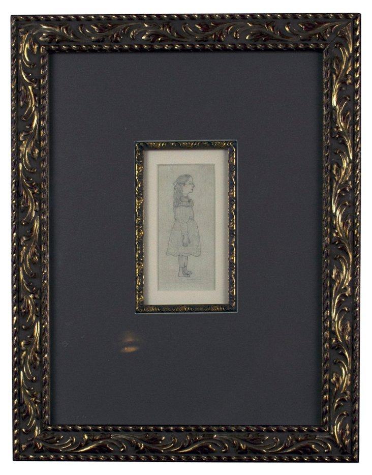 Framed Girl Profile Drawing
