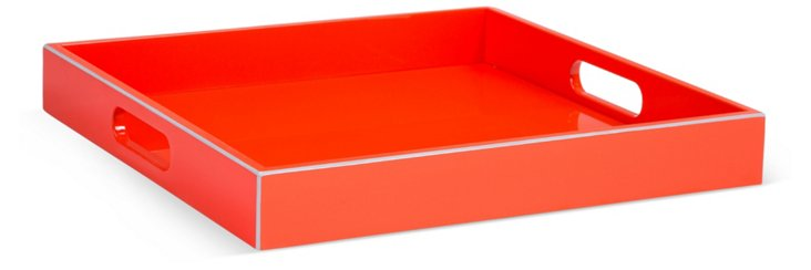 "15"" Lacquer Tray, Red"