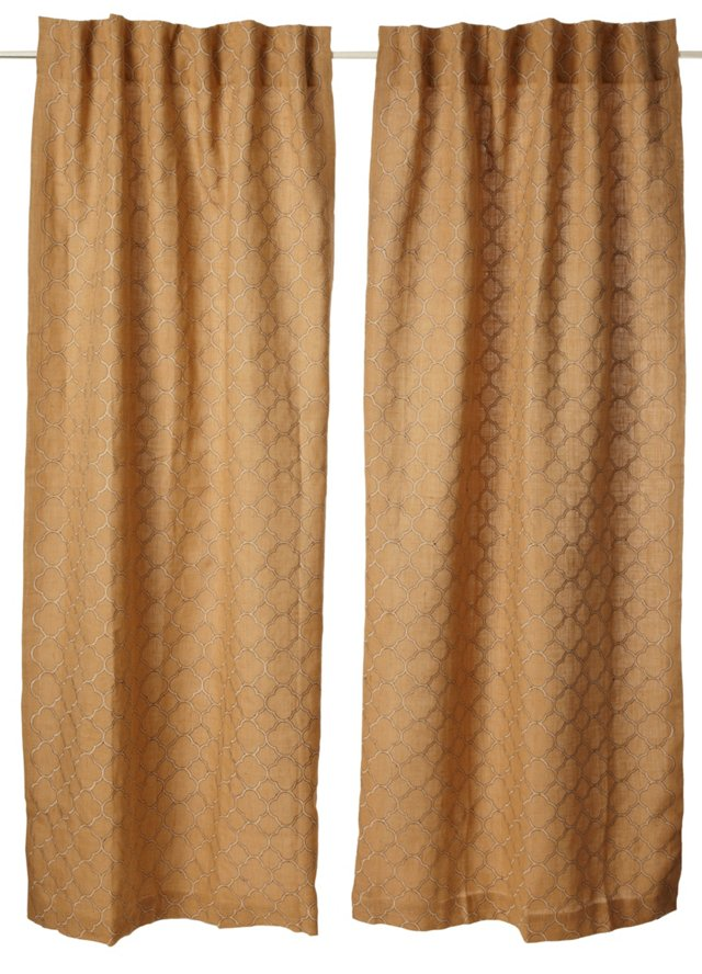 Set of 2 Mesmerize Curtains, Natural