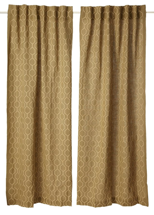 Set of 2 Pyramid Curtains, Sage Green