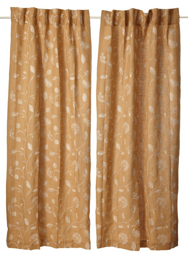 Set of 2 Foliage Curtains, Natural