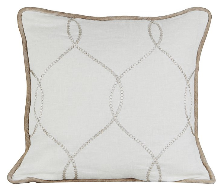 Jane 20x20 Embroidered Pillow, Ivory
