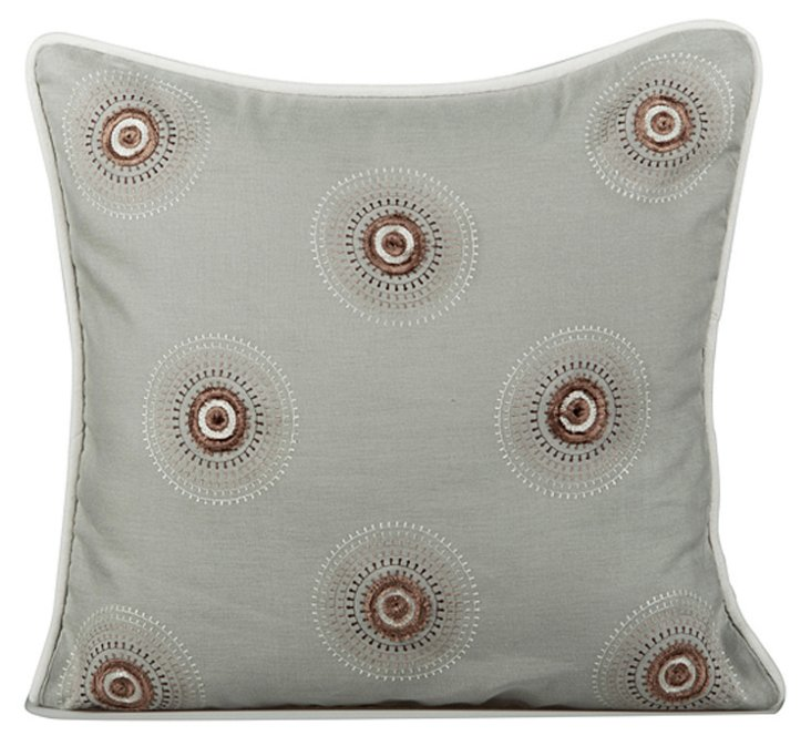 Motif 20x20 Embroidered Pillow, Mist