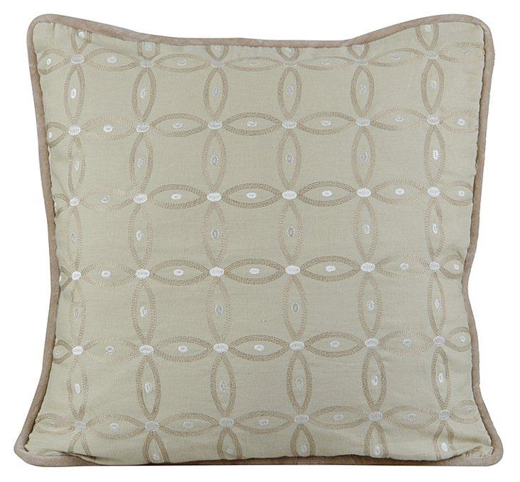 Tillie 20x20 Embroidered Pillow, Fog