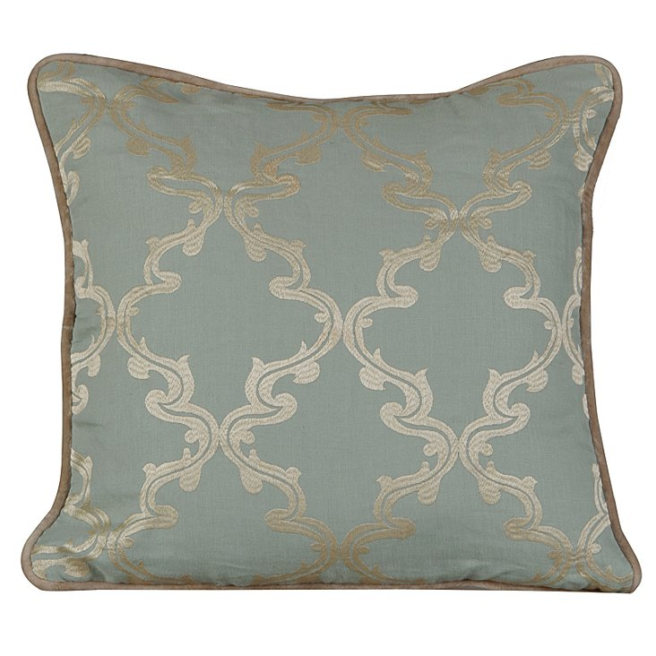 Charlotte 20x20 Embroidered Pillow, Blue