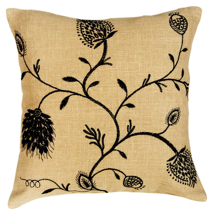 Blush 20x20 Embroidered Pillow, Natural