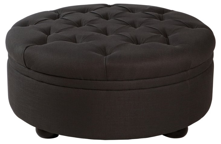 "Barnes 39"" Cocktail Ottoman, Charcoal"