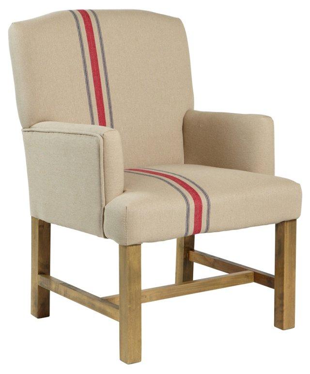 Cassidy Club Chair, Linen Stripe