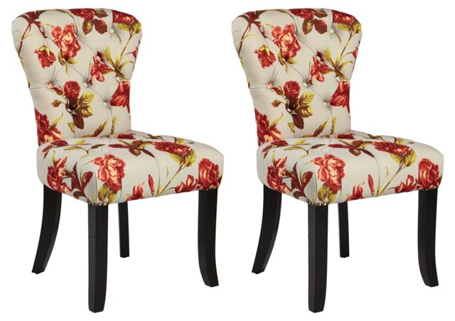 Red Floral Palmer Dining Chairs, Pair