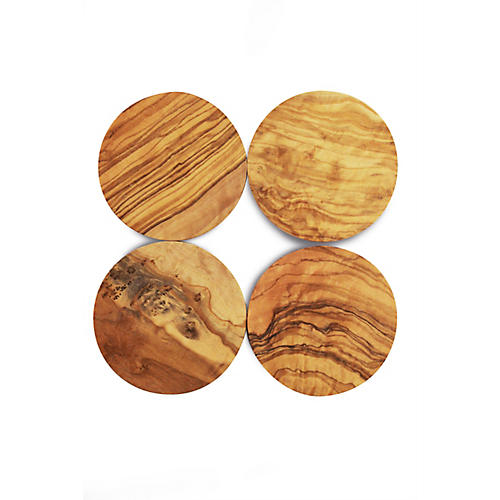 S/4 Round Olive Wood Coasters, Natural