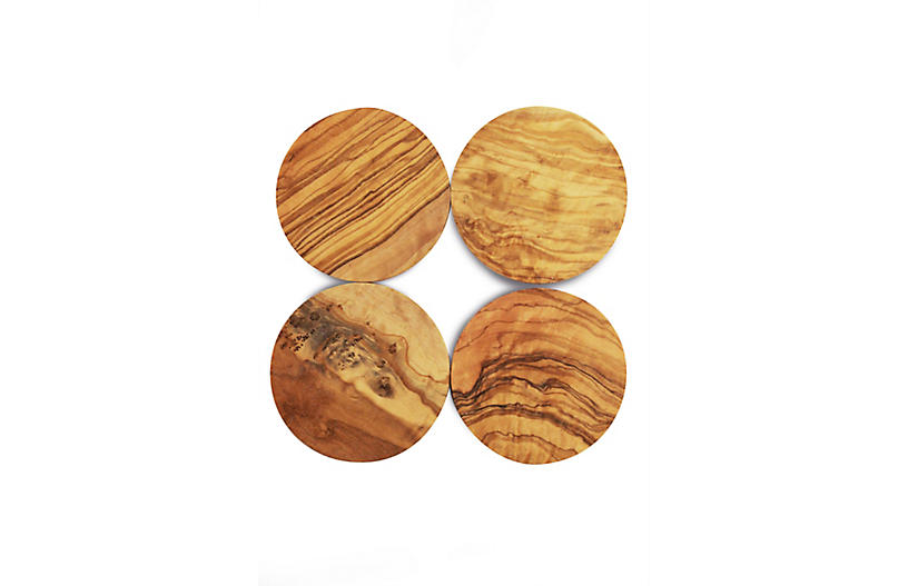 Set of 4 Round Olive Wood Coasters - Natural