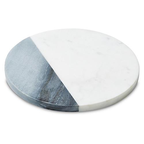 Sunol Round Cheese Board, White/Gray
