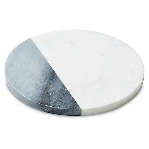 Sunol Round Cheese Board, White/Gray