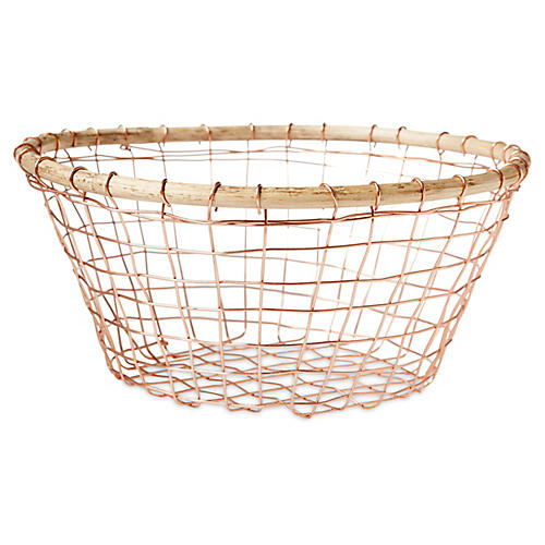 Tully Wine Basket, Copper/Beige