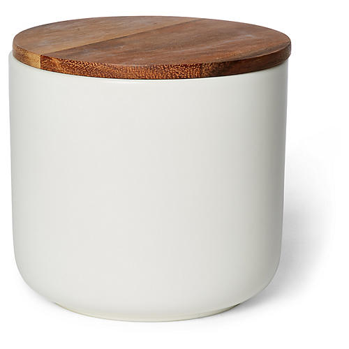 Acacia Small Canister, White