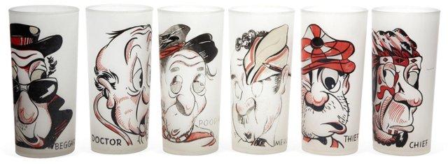 Cartoon Glasses, Set of 6