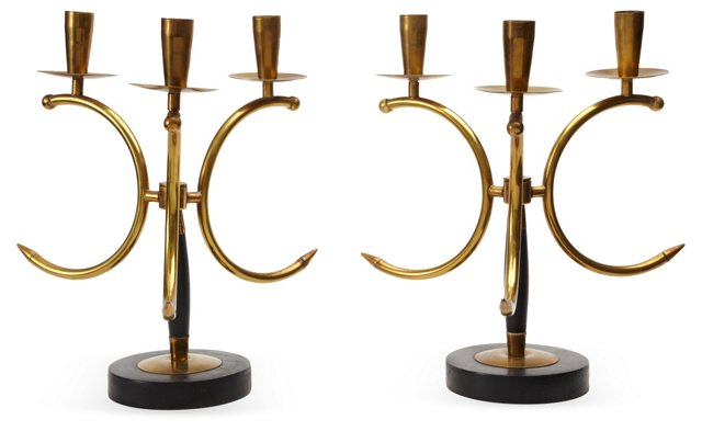 French 1950s Candelabra, Pair