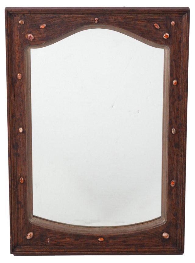 Oak Mirror w/ 16 Fire Opal Cabochons