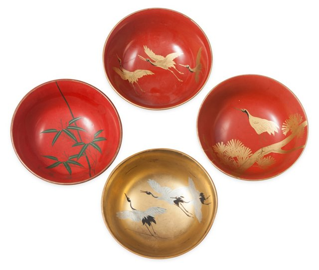 Japanese Lacquer Bowls, Set of 4