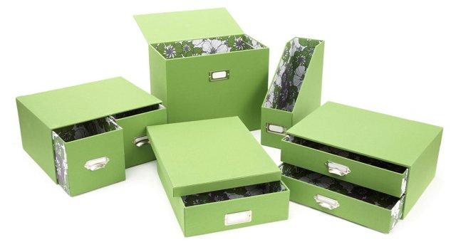 5-Piece Green Desk Set