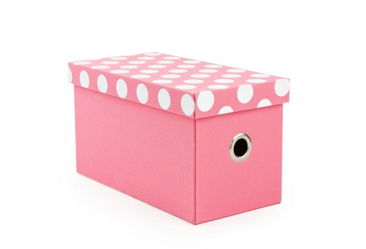 S/2 Polka Dot Rectangle Boxes, Pink