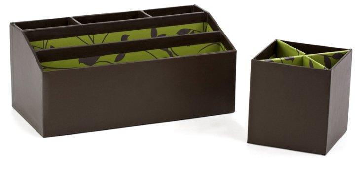 Green Bird Pencil Cup & Desk Caddy Set