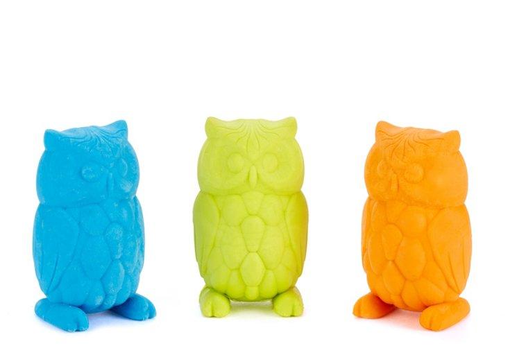 S/6 Owl Erasers, Blue, Green,  Orange
