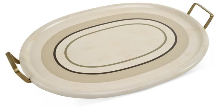 Large Oval Tray, Beige