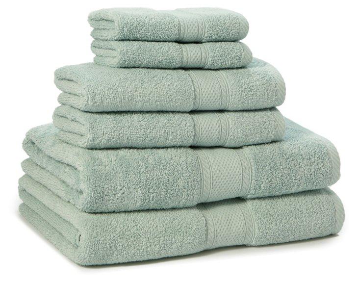6-Pc MicroCotton Towel Set, Sea Glass