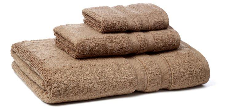3-Pc MicroCotton Towel Set, Mocha
